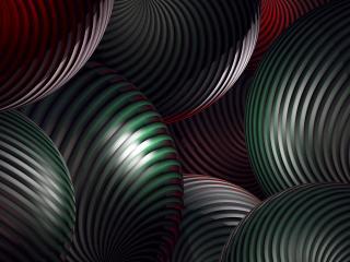 обои Полосатые абстрактные темные шары фото