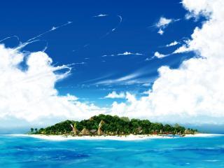 обои Турристический остров в океане фото