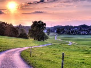 обои Полевой дорогой к поселку при закате розовом фото