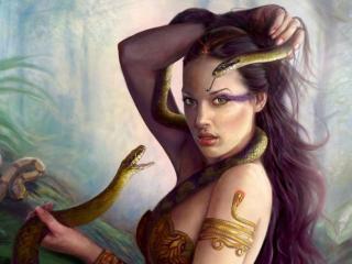 обои Девушка и змеи фото