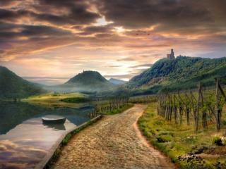 обои Дорога,   озеро и горы фото