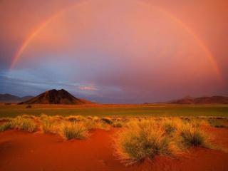 обои Радуга над пустыней Намиб фото