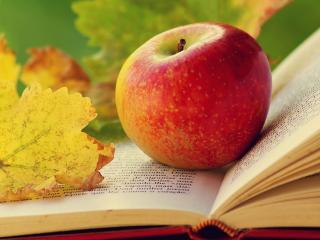 обои На книге раскрытой яблоко и листик желтый фото