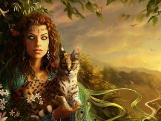 обои Девушка и лесной зверёк фото