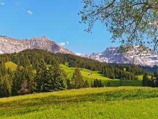 обои Домики на склонaх в летних горах фото