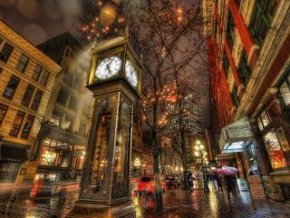 обои Часы на улице вечернего городa фото