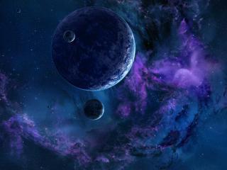 обои Синиe тона космических планет фото