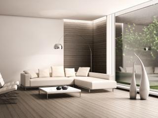 обои Белая кожаная мебель в гостиной фото