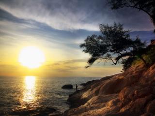 обои Солнце над заливом фото