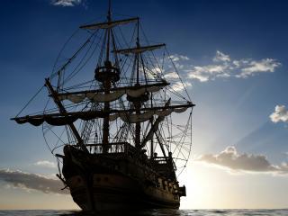 обои Старый корабль с мачтой фото
