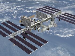 обои Спутник на солнечных батареях фото