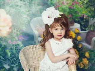 обои Девочка с цветком фото