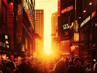 обои Людная улица города фото