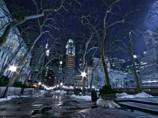 обои Тает снег в городе вечернем фото
