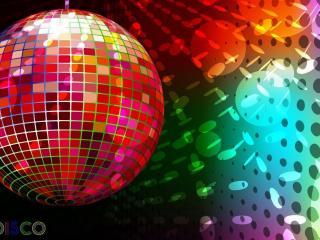 обои Разноцветный шар диско и надпись фото