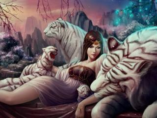 обои Девушка с тиграми фото