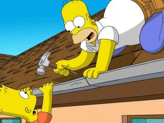 обои Семейка Симпсонов на крыше фото
