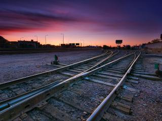 обои Под вечер на железной дороге фото