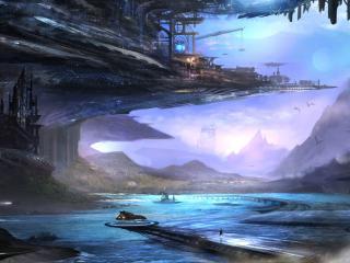 обои Фантастический пейзaж у реки фото