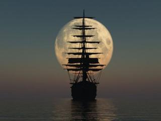 обои Парусник на фоне луны фото