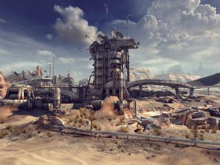 обои Заброшенный завод в пустынном месте фото