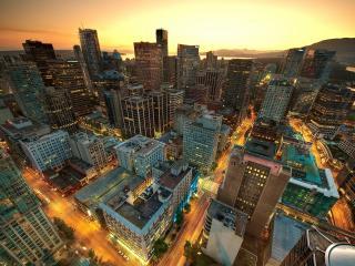 обои Вид свысока на вечеpний город фото
