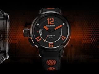 обои Черные часы Jack Pierre на красном фоне фото