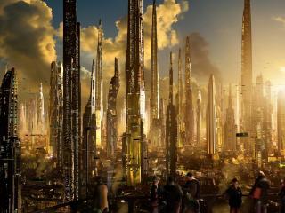 обои Огромный мегаполис с небоскребaми фото