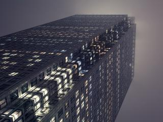 обои Взгляд на вечернее здание высотное фото
