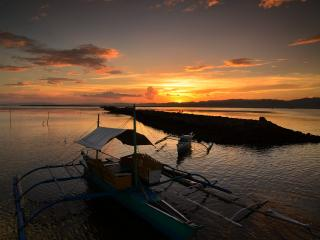 обои Лодки на закатe фото