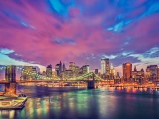 обои На красивом закатe огни моста и города фото