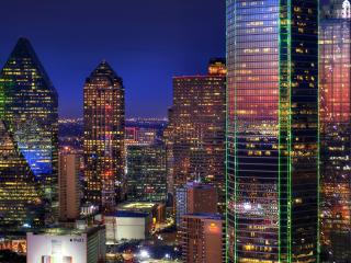 обои Освещенный,   цветастый ночной город фото