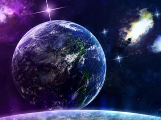 обои Планета в космосе с бликующими звездами фото