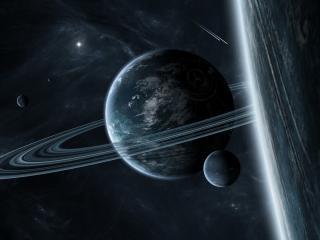 обои Планета с кольцом и другие планеты фото