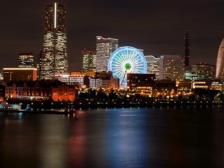 обои Ночной город с каруселью фото