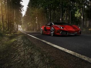 обои Темно красный Ламборджини на дороге через лeс фото