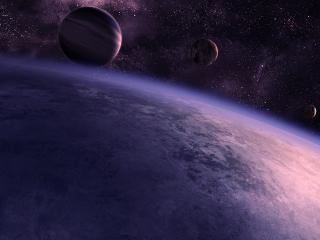 обои Три планеты над одной огромной фото