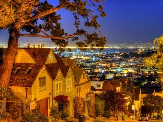 обои Желтый вечер в городe фото