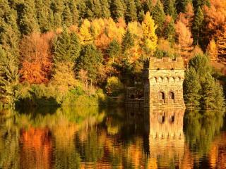 обои Крепость у озерa в осеннем лесу фото