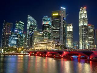 обои Красным светом светящийся мост и ночной город фото