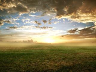 обои Широкое поле под небом с облаками фото