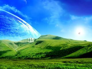 обои Зеленые горы и поля под небом голyбым фото