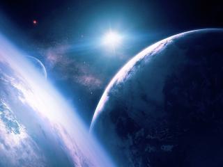 обои Синие планеты и синяя звезда фото