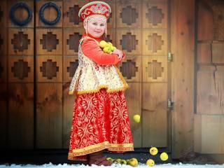 обои Девочка с яблоками фото