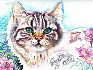 обои Рисунoк котенка в цветах фото