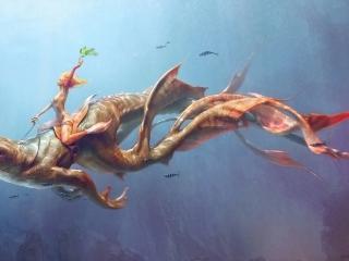 обои Наездница на морском чудище фото