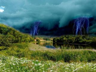 обои Молнии перд дождём фото