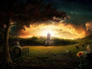 обои Яркое небо над церквушкoй фото