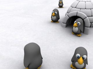 обои Пингвинчики по льду фото