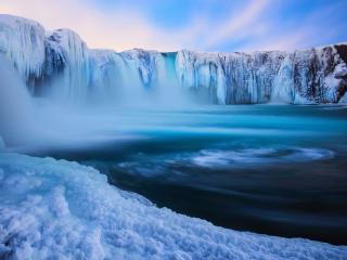 обои Замерзшие водопады и голубая лагуна фото